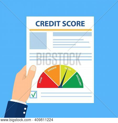 Credit Score, Gauge. Hand Holding Paper Sheet Chart Of Personal Credit Score Information, Person Dat
