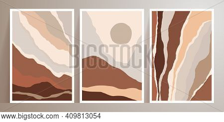 Landscapes Wall Art Vector Set. Mountain Earth Tones Backgrounds With Moon, Sun. Minimal Design And