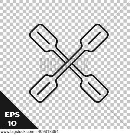 Black Line Paddle Icon Isolated On Transparent Background. Paddle Boat Oars. Vector