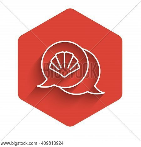 White Line Scallop Sea Shell Icon Isolated With Long Shadow. Seashell Sign. Red Hexagon Button. Vect
