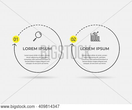 Minimal Business Infographics Template. Timeline With 2 Steps, Options And Marketing Icons