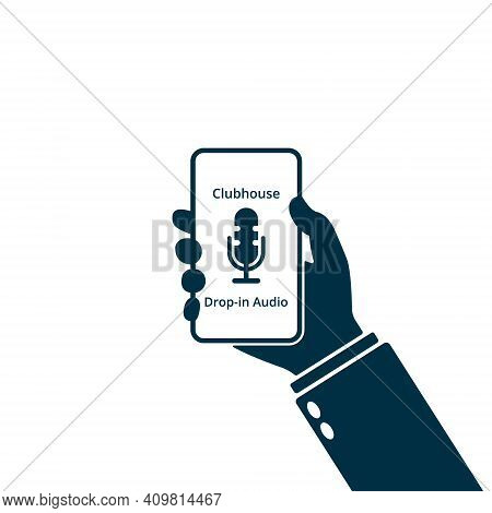 Hand Holding Smartphone With Clubhouse App. Room Of Clubhouse App. Microphone Icon. Vector
