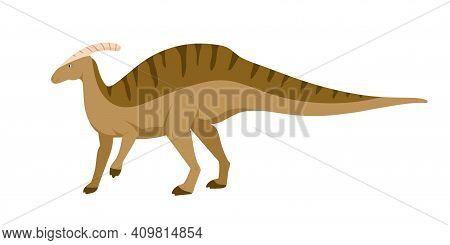 Parasaurolophus Dino. Extinct Dinosaur With Cranial Crest Or Bone On Head. Animal Of Ancient Jurassi