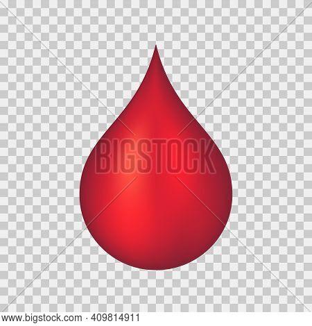 A Drop Of Blood. 3d Vector Illustration On Transparent Background.