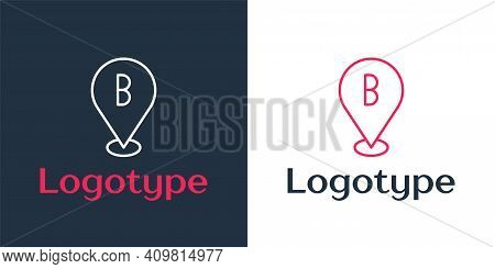 Logotype Line Map Pin Icon Isolated On White Background. Navigation, Pointer, Location, Map, Gps, Di