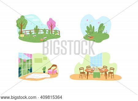 Easter Holiday Traditional Activities 2d Vector Web Banner, Poster Set. Spring Season Flat Scenery O