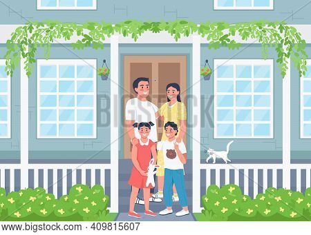Happy Family Posing On House Patio Flat Color Vector Illustration. Spring Season. Relatives On Porch