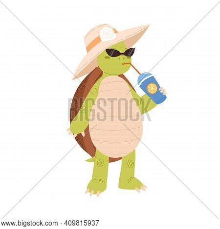 Cute And Funny Turtle Drinking Cocktail. Cool Green Tortoise In Hat And Sunglasses. Childish Animal