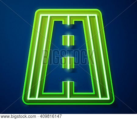 Glowing Neon Line Special Bicycle Ride On The Bicycle Lane Icon Isolated On Blue Background. Vector