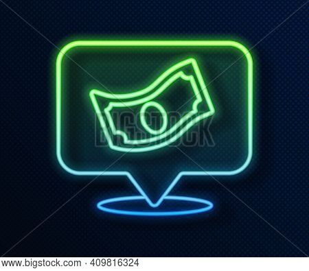 Glowing Neon Line Stacks Paper Money Cash Icon Isolated On Blue Background. Money Banknotes Stacks.
