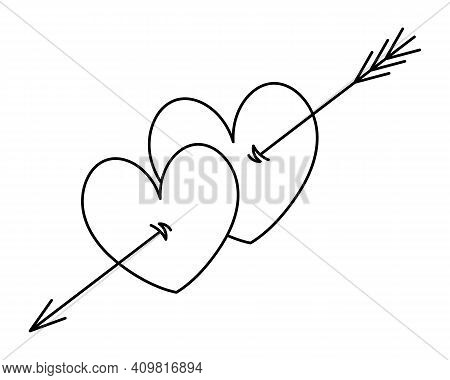 An Arrow Pierces A Couple Of Hearts. Sketch. Merging Of Hearts. Vector Illustration. Coloring Book F