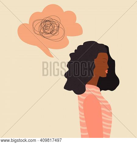 Frustrated Sad African Woman With Nervous Problem Feel Anxiety And Confusion Of Thoughts. Young Blac
