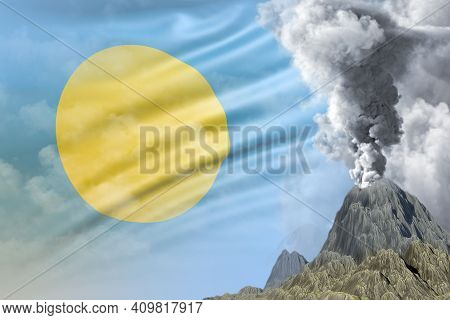 Big Volcano Blast Eruption At Day Time With White Smoke On Palau Flag Background, Troubles Because O
