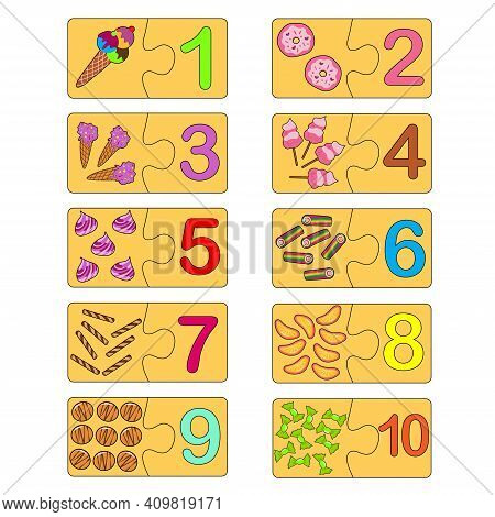 Educational Game For Kids. Correct Version Of Assembled Puzzles. Collection Puzzle With Numbers And