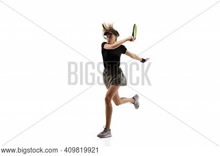 On Fire. Young Caucasian Professional Sportswoman Playing Tennis Isolated On White Background. Train