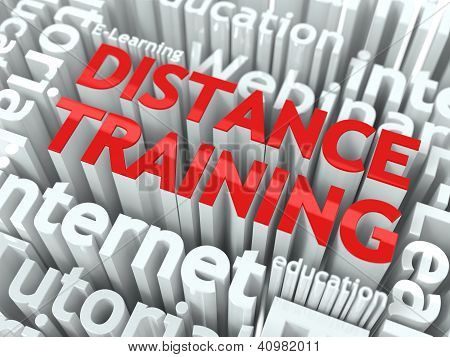 Distance Training Concept. Inscription of Red Color Located over Text of White Color. poster