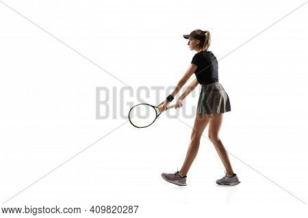 Walk Over. Young Caucasian Professional Sportswoman Playing Tennis Isolated On White Background. Tra