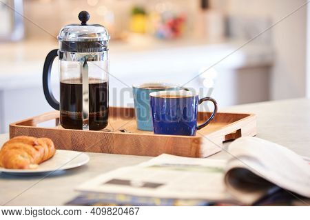 Coffee Cup On The Wooden Background, Hot And Fresh Morning Coffee. Coffee Beans Texture Or Coffee Be