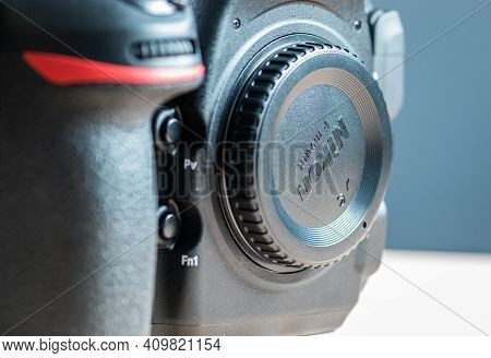 Galle, Sri Lanka - 02 17 2021: Nikon Dslr Body Front View With Body Cap Attached Into The Lens Mount
