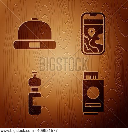 Set Passport With Ticket, Beanie Hat, Bottle Of Water And City Map Navigation On Wooden Background.