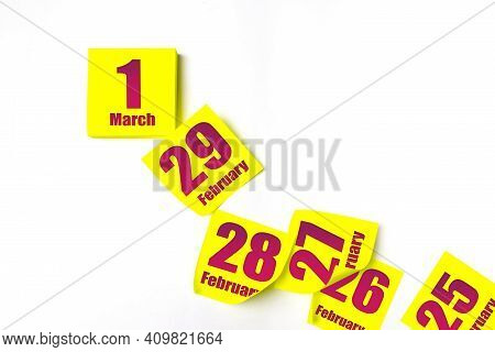 March 1st . Day 1 Of Month, Calendar Date. Many Yellow Sheet Of The Calendar. Spring Month, Day Of T