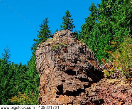 Rugged Stone on the Mountainside - A colorful rock formation along Straight Creek Road - Cascade Range - near Marion Forks, OR