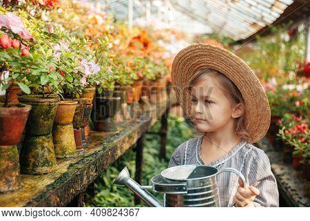 Child Planting Spring Flowers. Little Girl Gardener Plants Azalea. Girl Holding Azalea Bush In Flowe