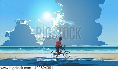 Young Man Sitting On A Bicycle Looking At The Sea On A Summer Day, Vector Illustration
