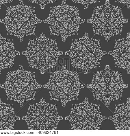 Seamless Pattern. Mandala Art Illustration Ornament. Vector Hand Drawn, Line Art. In The Style Of A