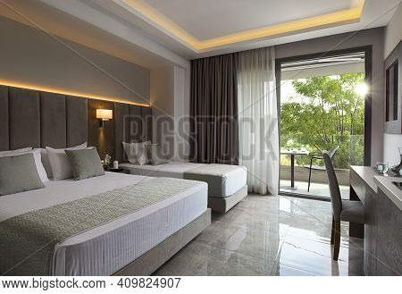 Modern Apartment Interior Of Family Hotel Room With Grey Oak Wood Furniture, Single, Double King Siz