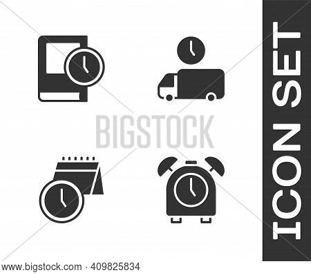 Set Alarm Clock, Time For Book, Calendar And And Delivery Time Icon. Vector