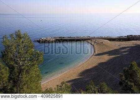 Sirolo (an), Italy - January 1, 2019:  Urbani Beach, Riviera Del Conero, Adriatic Sea, Sirolo, Ancon
