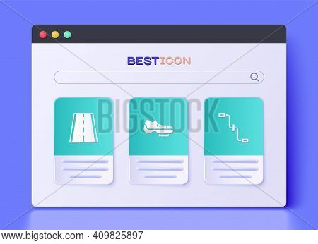 Set Bicycle Shoes, Lane And Pedals Icon. Vector