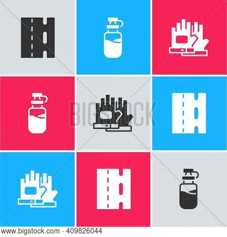 Set Bicycle Lane, Sport Bottle With Water And Gloves Icon. Vector