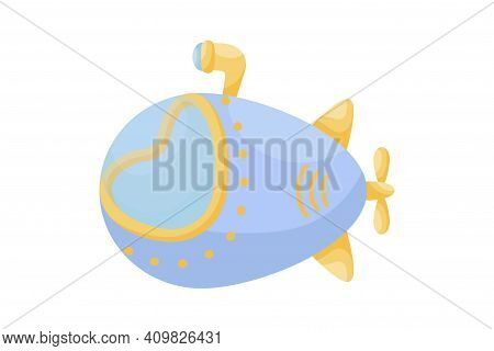 Cute Blue Submarine With Periscope On White Background. Cartoon Transport For Kids Cards, Baby Showe
