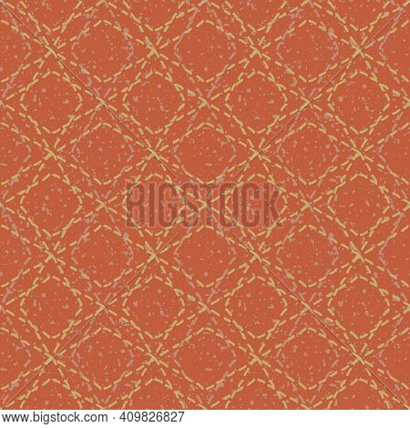 Diamond And Circle Stitch Effect Seamless Vector Pattern Background. Modern Needlework Abstract Terr