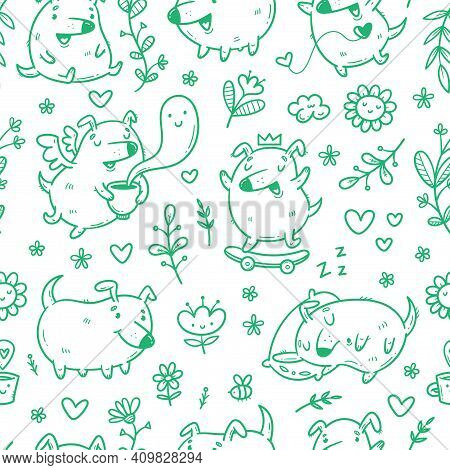 Seamless Pattern With Cute Puppies And Plants On White Background. Vector Wallpaper With Funny Anima