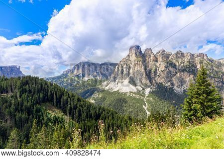 Mountain Range Of The Italian Dolomites Surrounded By Forest. Trentino-alto Adige, Italy