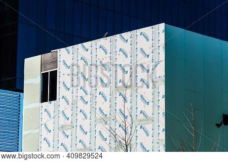 Madrid, Spain - February 7, 2021: Building Under Construction With Glasroc Sheating Board Facade.