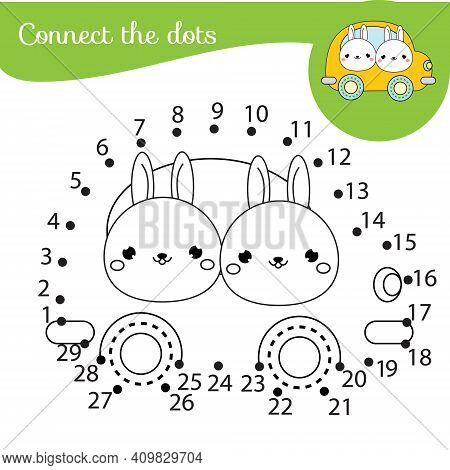 Connect The Dots. Children Educational Game. Dot To Dot By Numbers For Kids And Toddlers Fun. Cute B