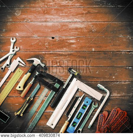 Closeup Top View Tools Building And Repair Set On A Vintage Wooden Background