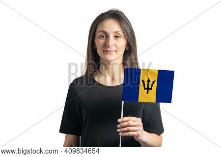 Happy Young White Girl Holding Barbados Flag Isolated On A White Background.