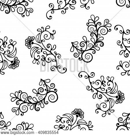 Floral Line Seamless Pattern, Black And White Drawing, Monochrome Blooming, Coloring Background. Cut