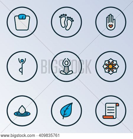 Meditation Icons Colored Line Set With Yoga Pose, Feet, Peace Hand Foliage Elements. Isolated Vector