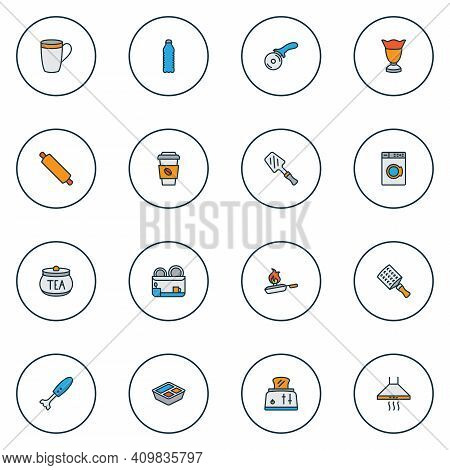 Cook Icons Colored Line Set With Pizza Knife, Rolling Pin, Hand Grater Zester Elements. Isolated Vec