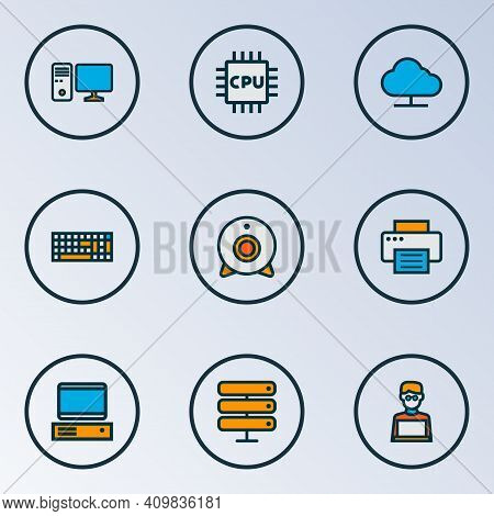 Hardware Icons Colored Line Set With Web Cam, Man With Laptop, Pc And Other Storage Elements. Isolat