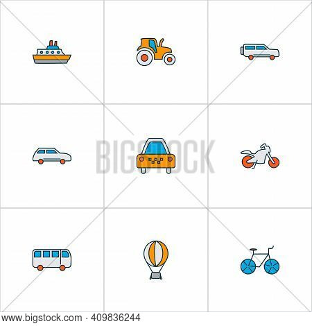 Transport Icons Colored Line Set With Suv, Bus, City Car And Other Cab Elements. Isolated Vector Ill