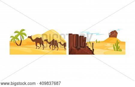 Desert Landscapes With Sand, Cactus And Rocky Mountain Vector Set