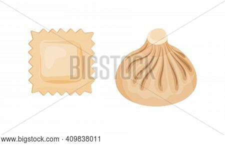 Dumpling Made Of Dough Wrapped Around Savory Or Sweet Filling Vector Set