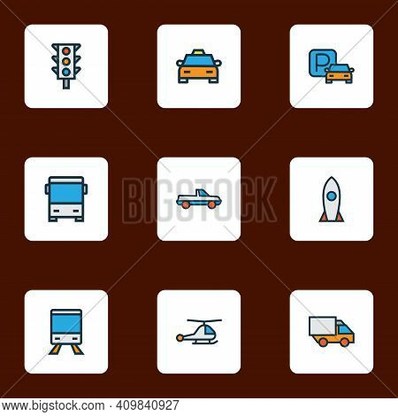 Shipment Icons Colored Line Set With Train, Parking Sign, Pickup And Other Suv Elements. Isolated Il
